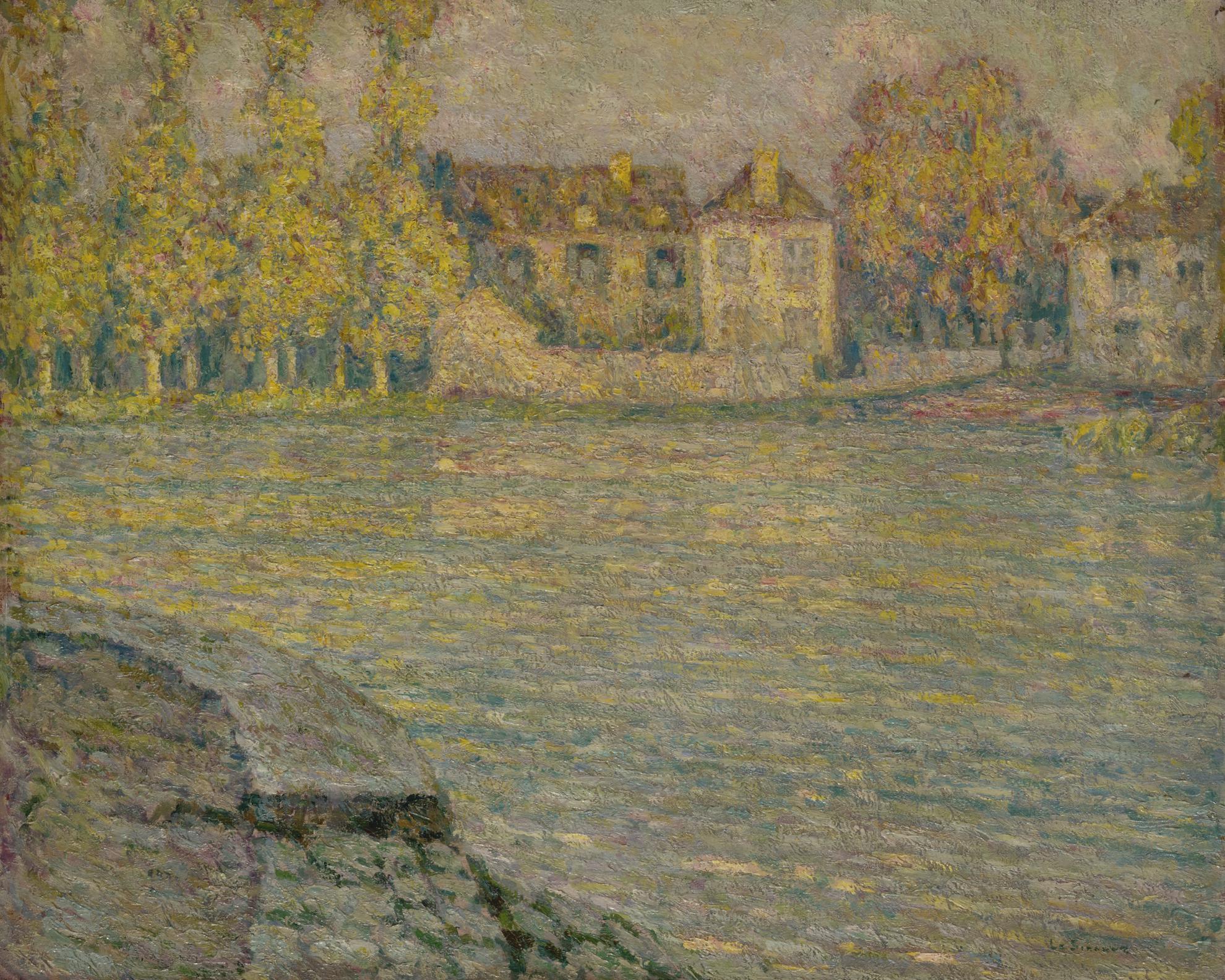 Henri Eugene Le Sidaner-Maisons Sur La Riviere Au Soleil Couchant, Moret-1918