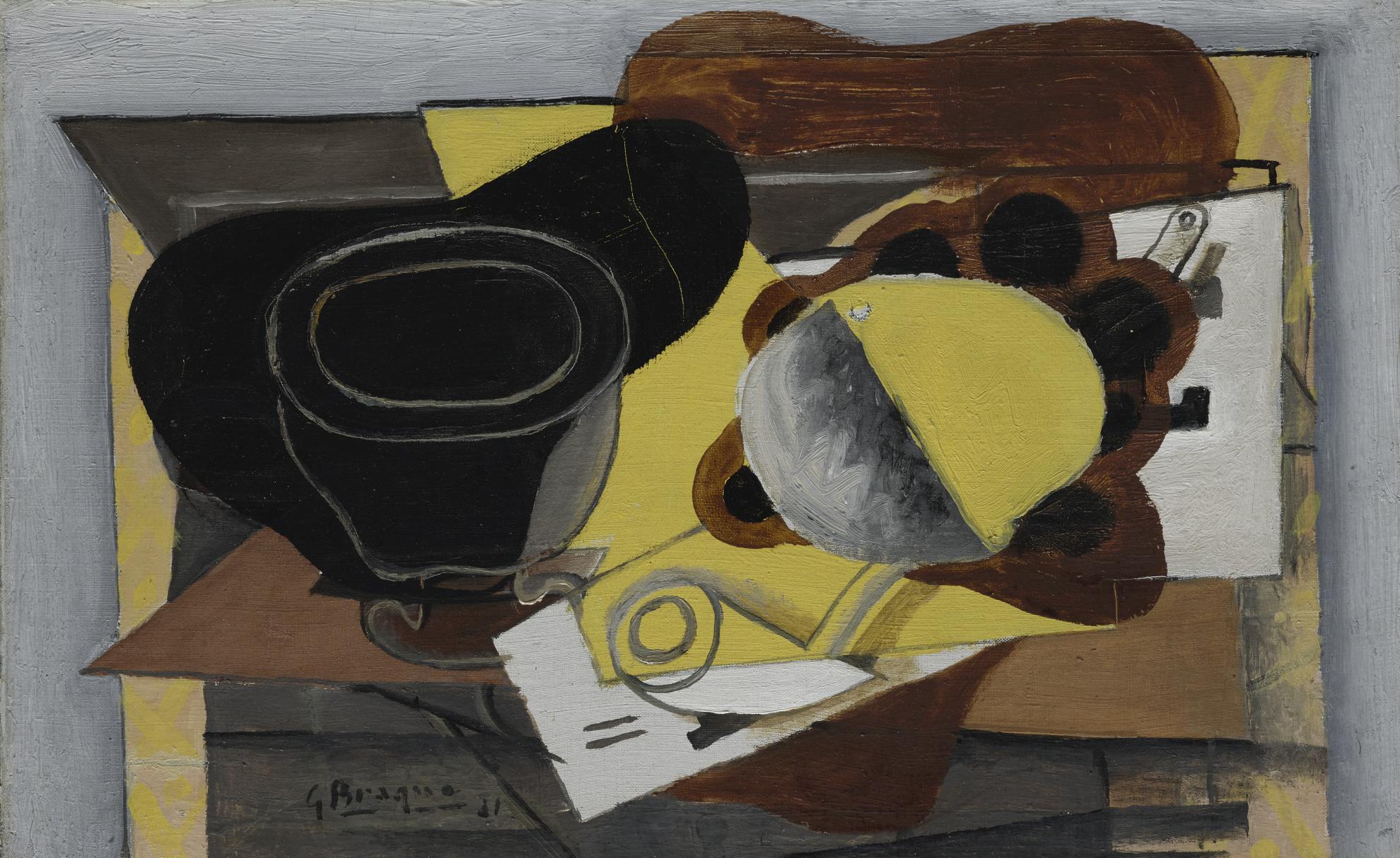 Georges Braque-Verre, Pipe Et Fruits-1931