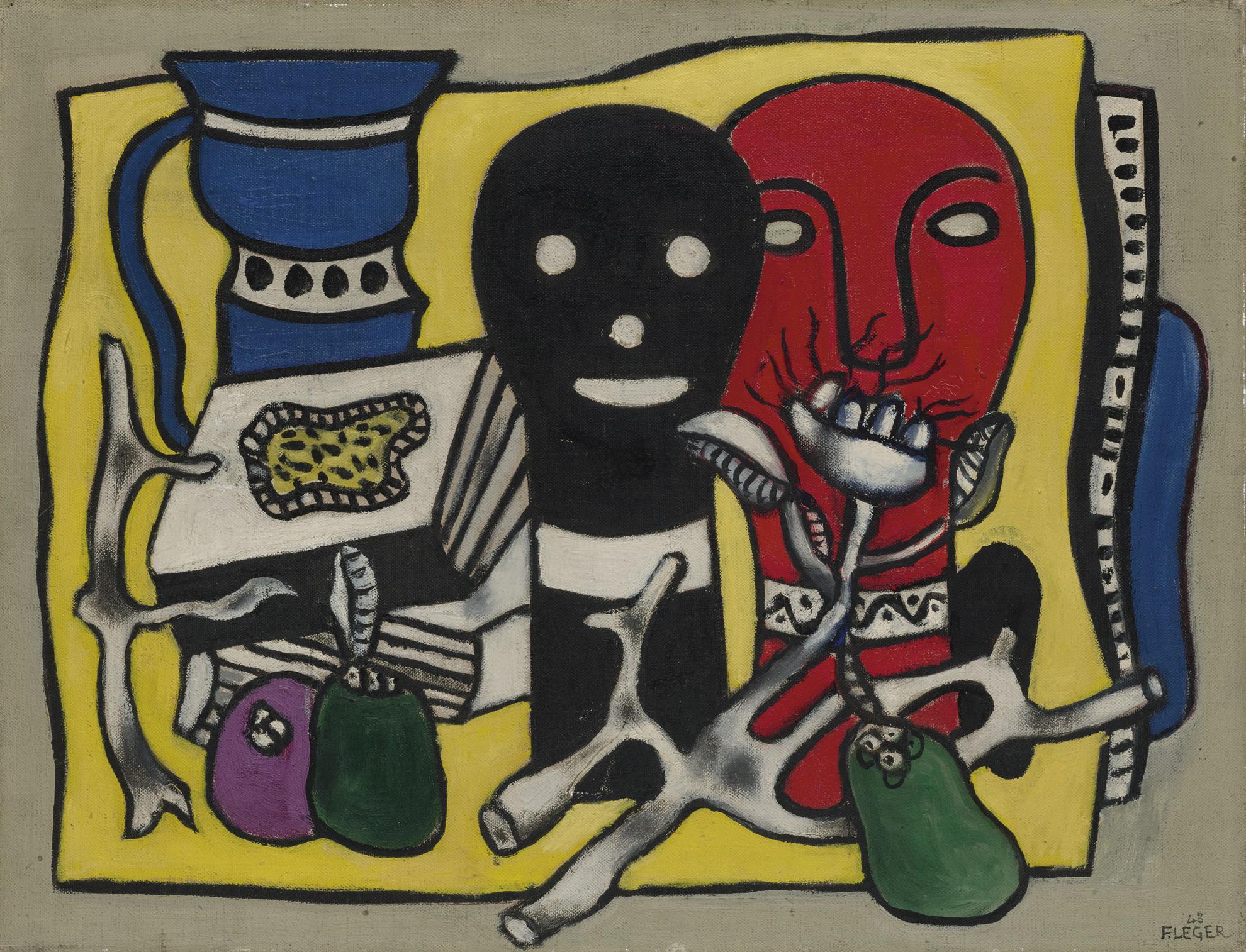 Fernand Leger-Composition Aux Deux Masques (Les Deux Jeannette)-1948