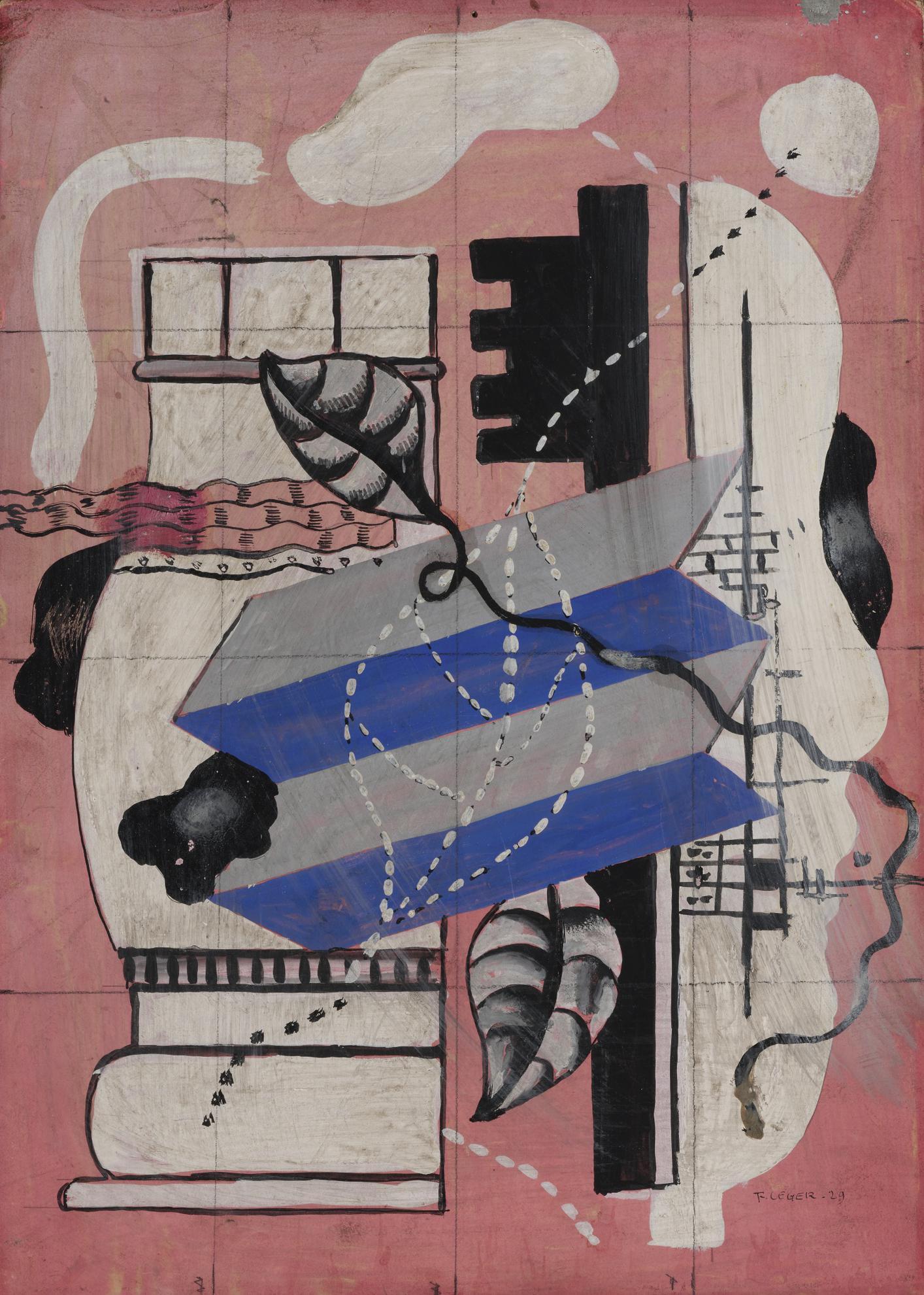 Fernand Leger-Nature Morte Aux Feuilles Et Clefs-1929