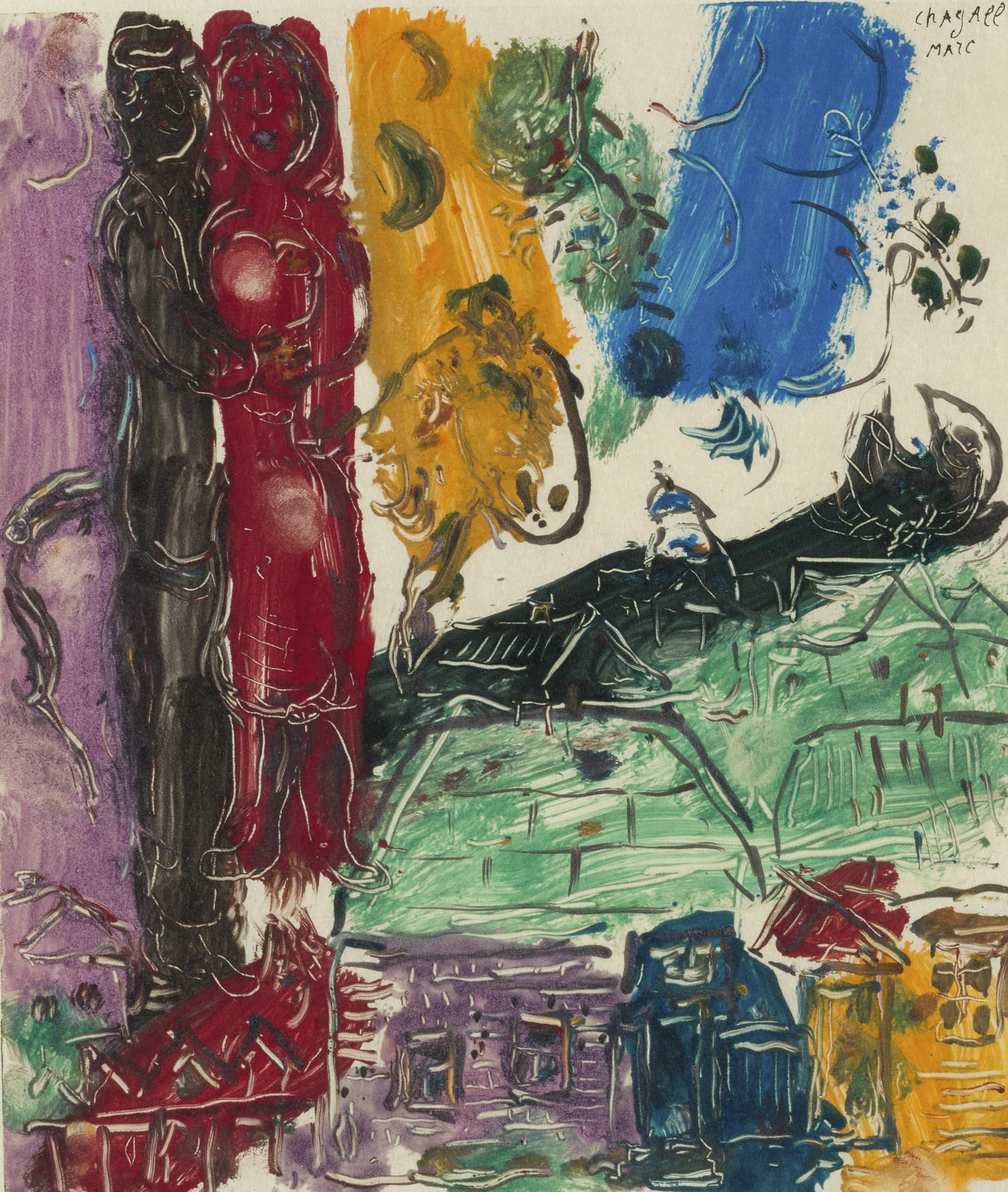 Marc Chagall-Couple Sur Les Toits-1966