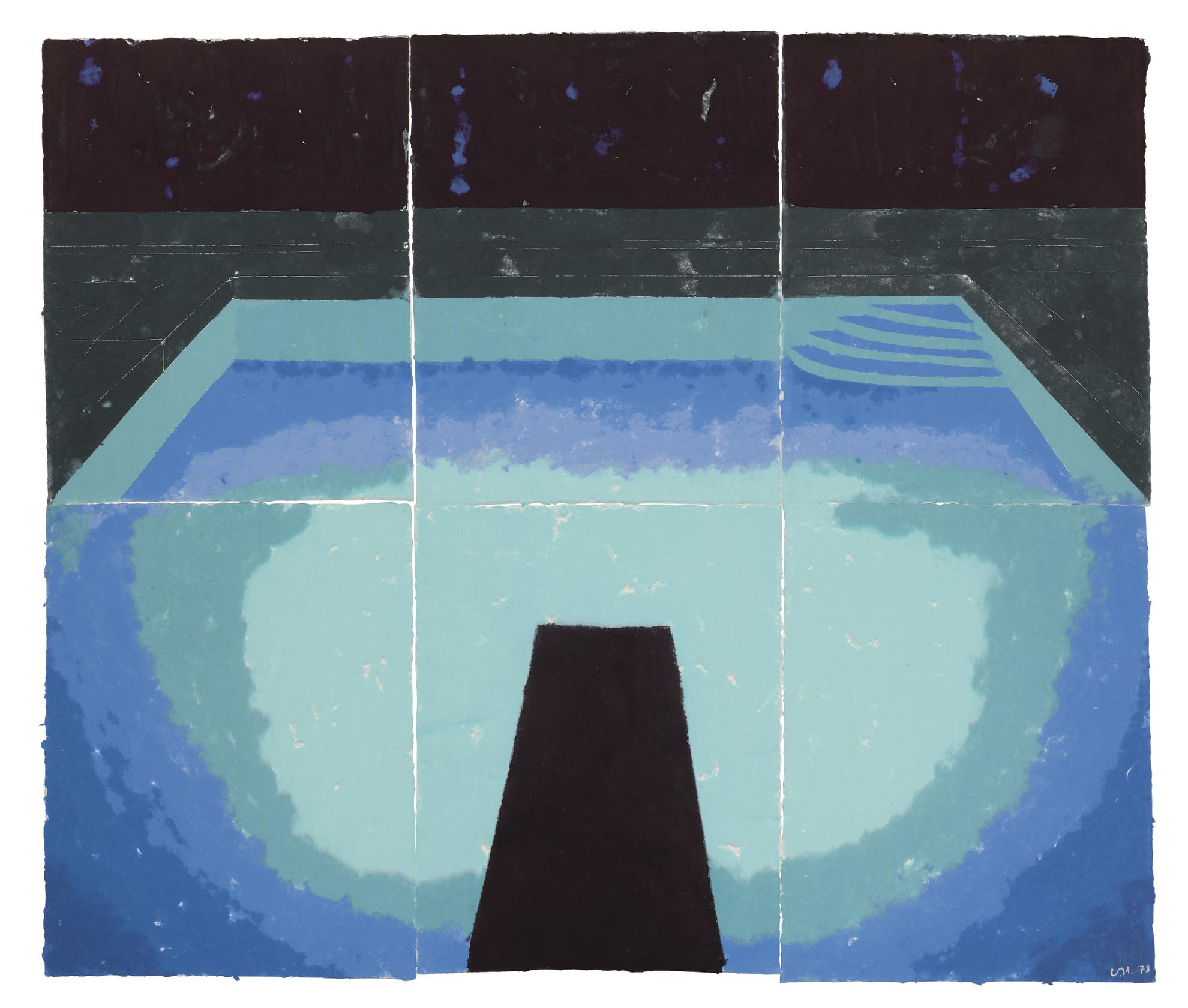 David Hockney-Piscine De Medianoche (Paper Pool 30)-1978