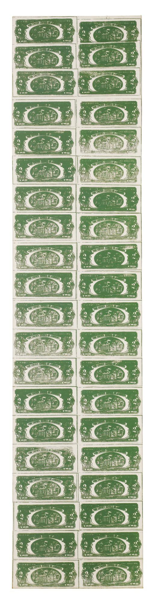 Andy Warhol-Two Dollar Bills (Back) (40 Two Dollar Bills In Green)-1962