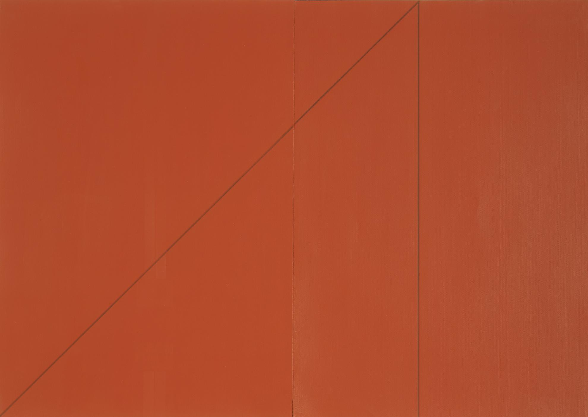 Robert Mangold-A Triangle Within Two Rectangles (Red)-1977
