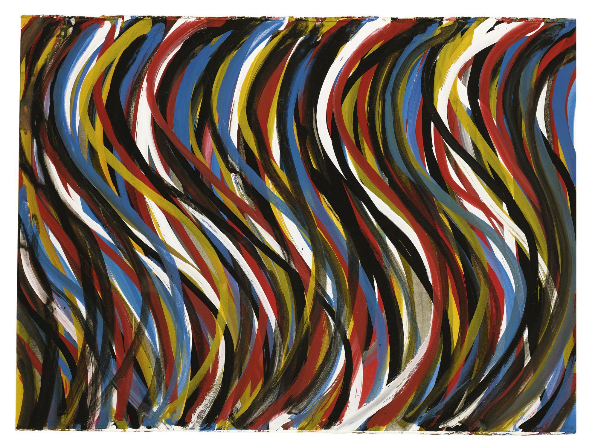 Sol LeWitt-Irregular Vertical Brushstrokes With Colors Superimposed-1993