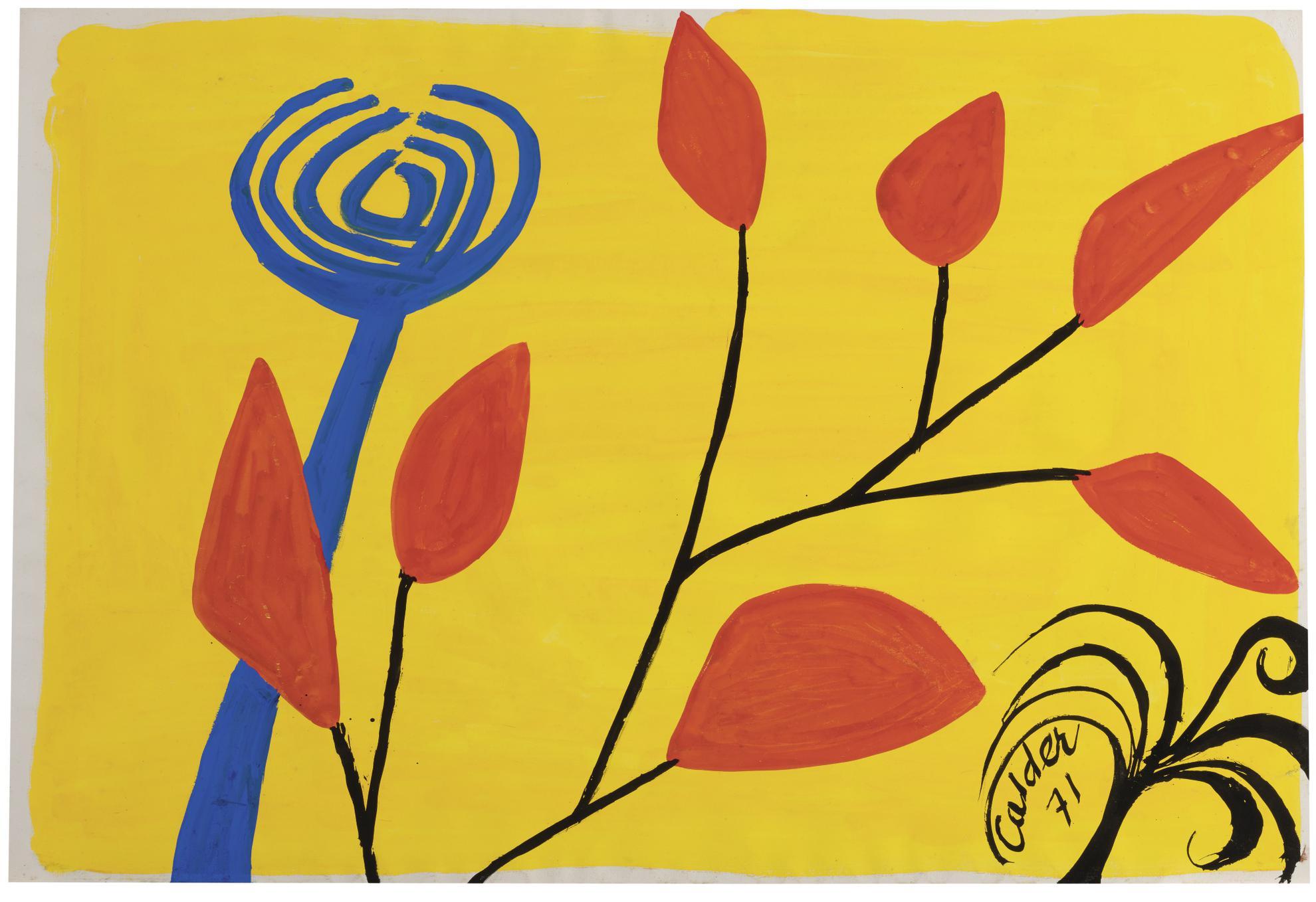 Alexander Calder-Flower On A Yellow Ground-1971