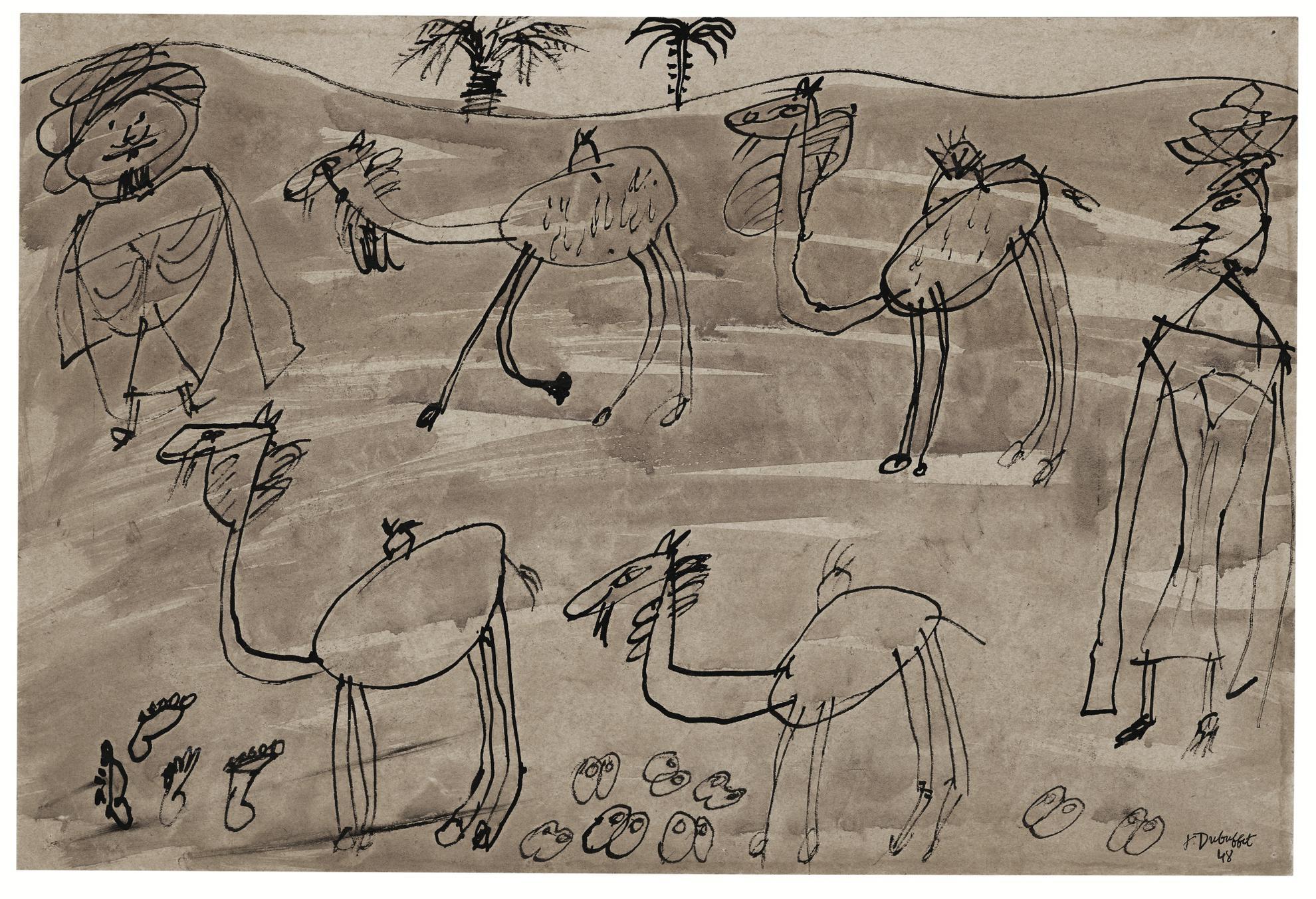 Jean Dubuffet-Sans Titre (Deux Arabes Et Quatre Chameaux)-1948