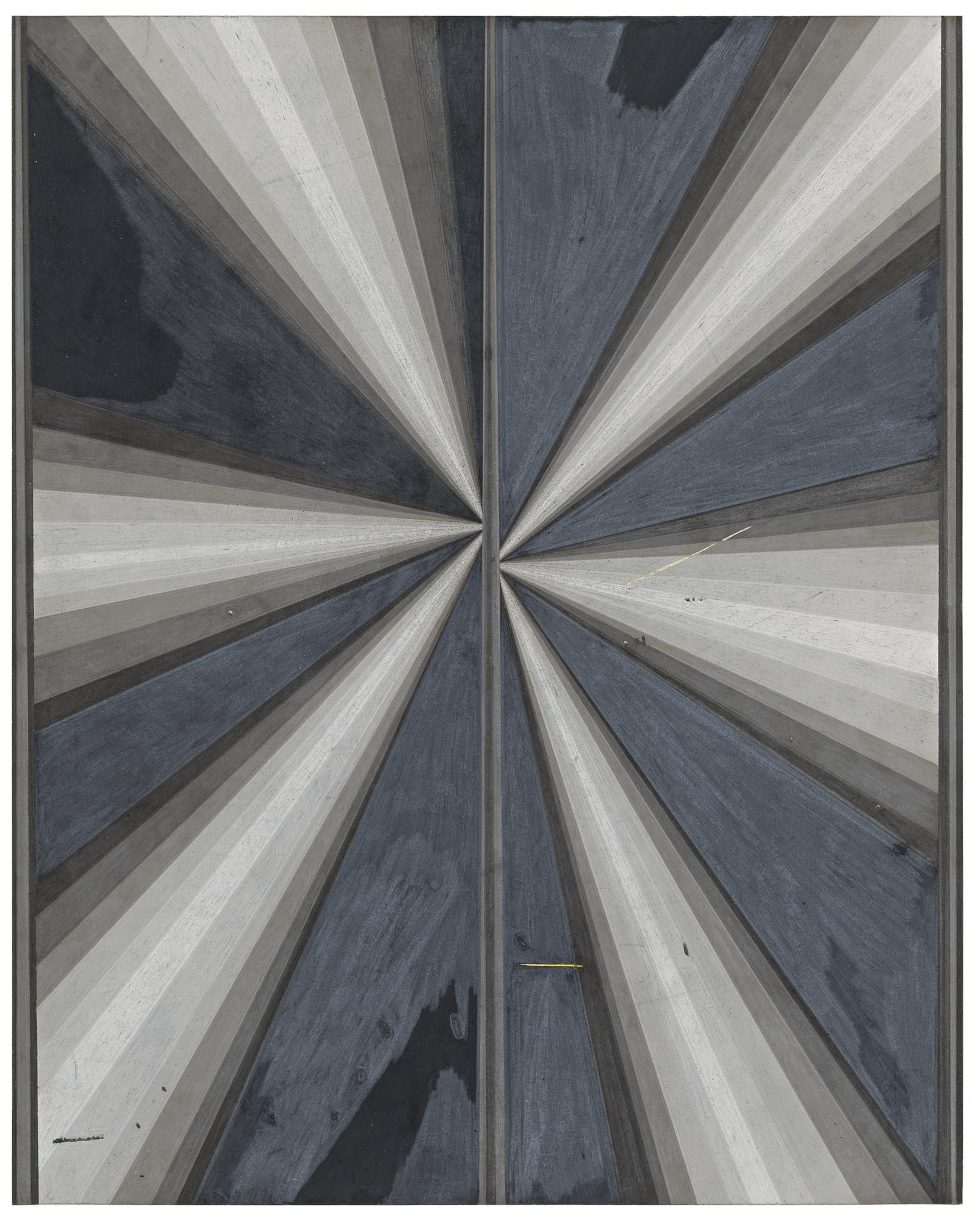 Mark Grotjahn-Untitled (French Grey Fan 10-90% Butterfly With Warm Grey 90% Between #715)-2008