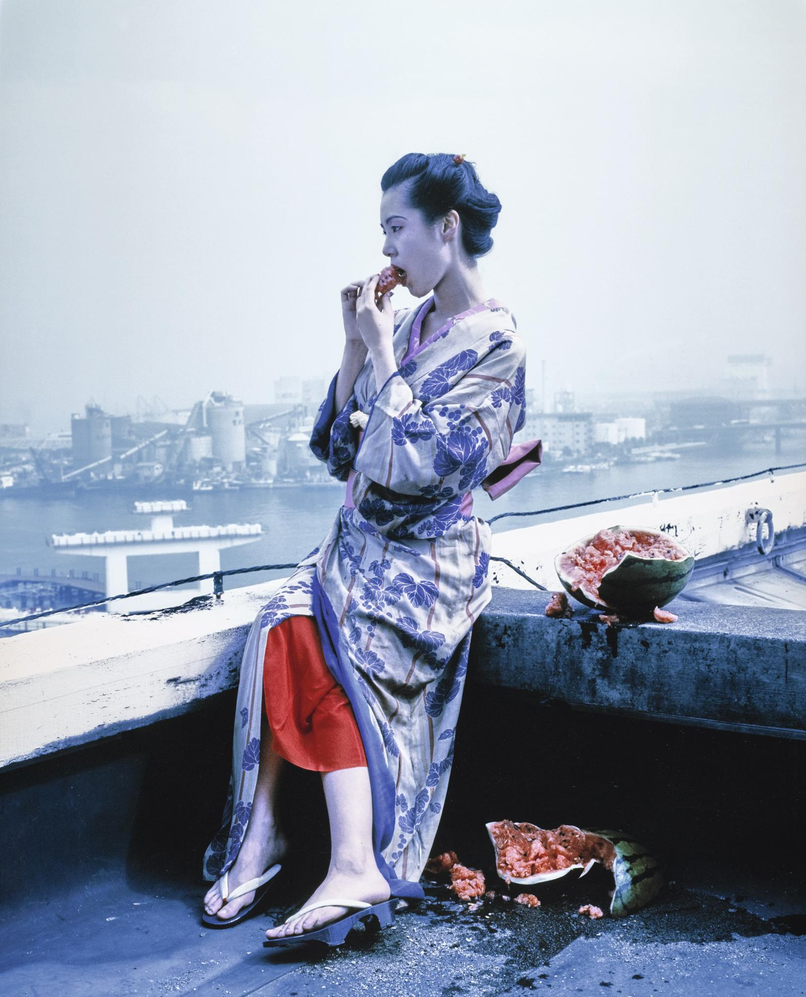 Nobuyoshi Araki-Untitled (Watermelon On Rooftop), From The Series Colourscapes-1991