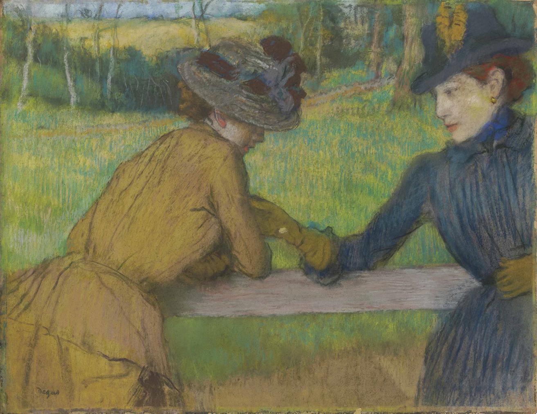 Edgar Degas-Deux Femmes Appuyees A Une Barriere (Conversation)-1885