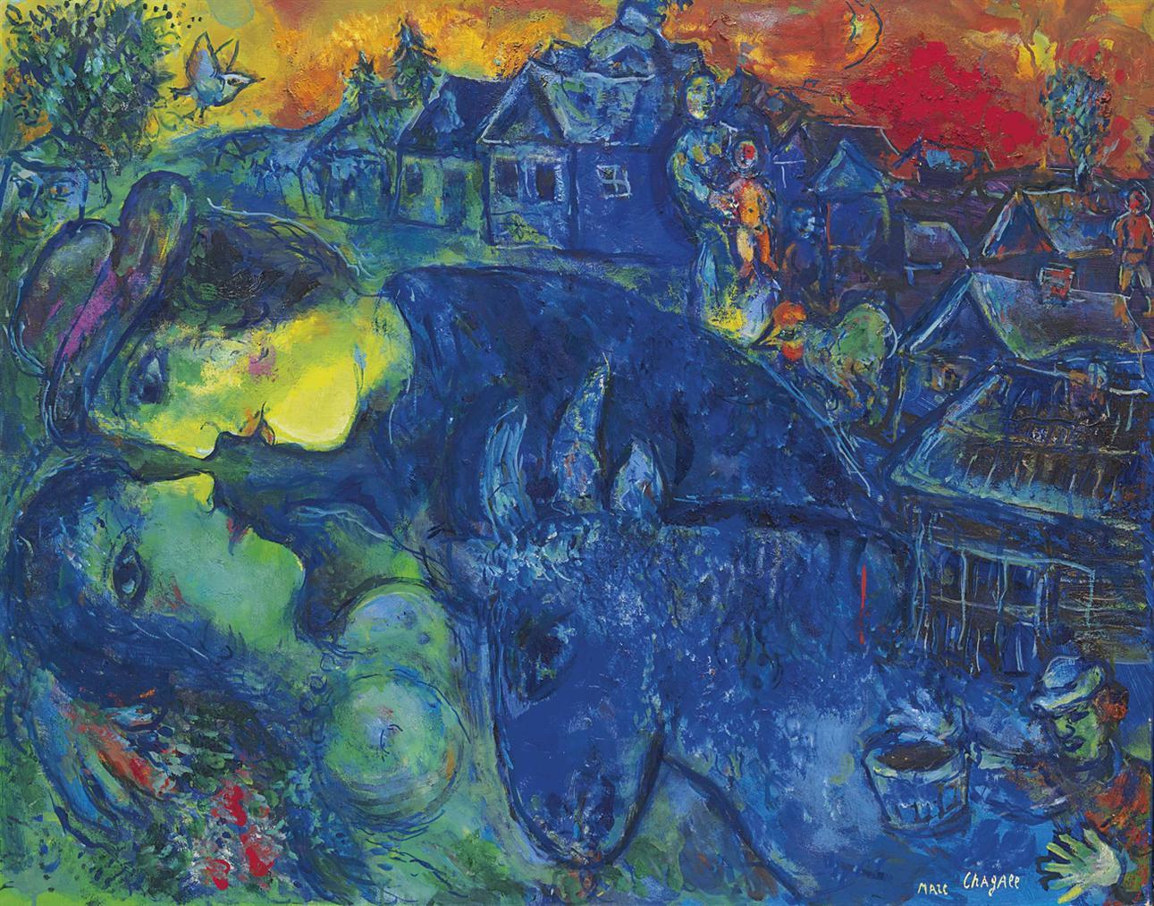 Marc Chagall-Le Village Bleu-1967