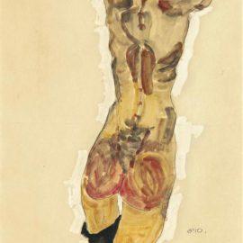 Egon Schiele-Stehender Ruckenakt-1910