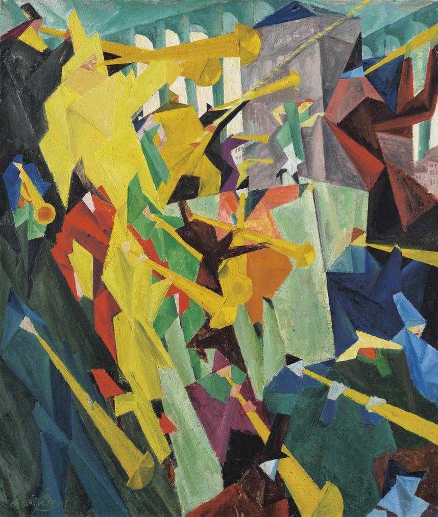 Lyonel Feininger-Trompetenblaser I-1912