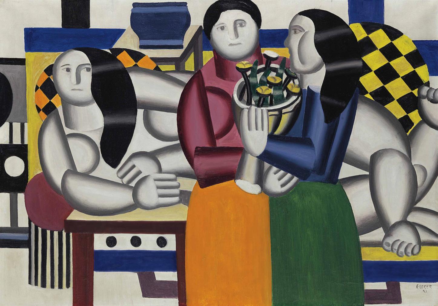Fernand Leger-Les Trois Femmes Au Bouquet-1922