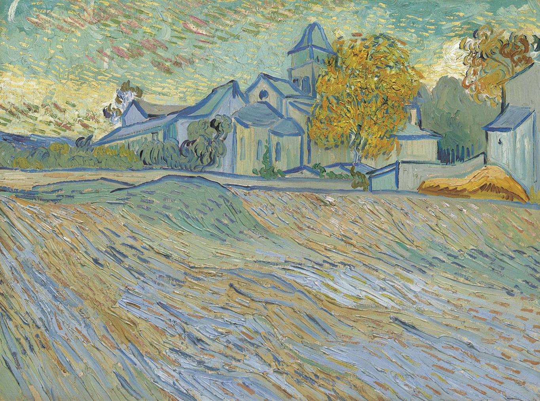Vincent van Gogh-Vue De Lasile Et De La Chapelle Saint-Paul De Mausole (Saint-Remy)-1889
