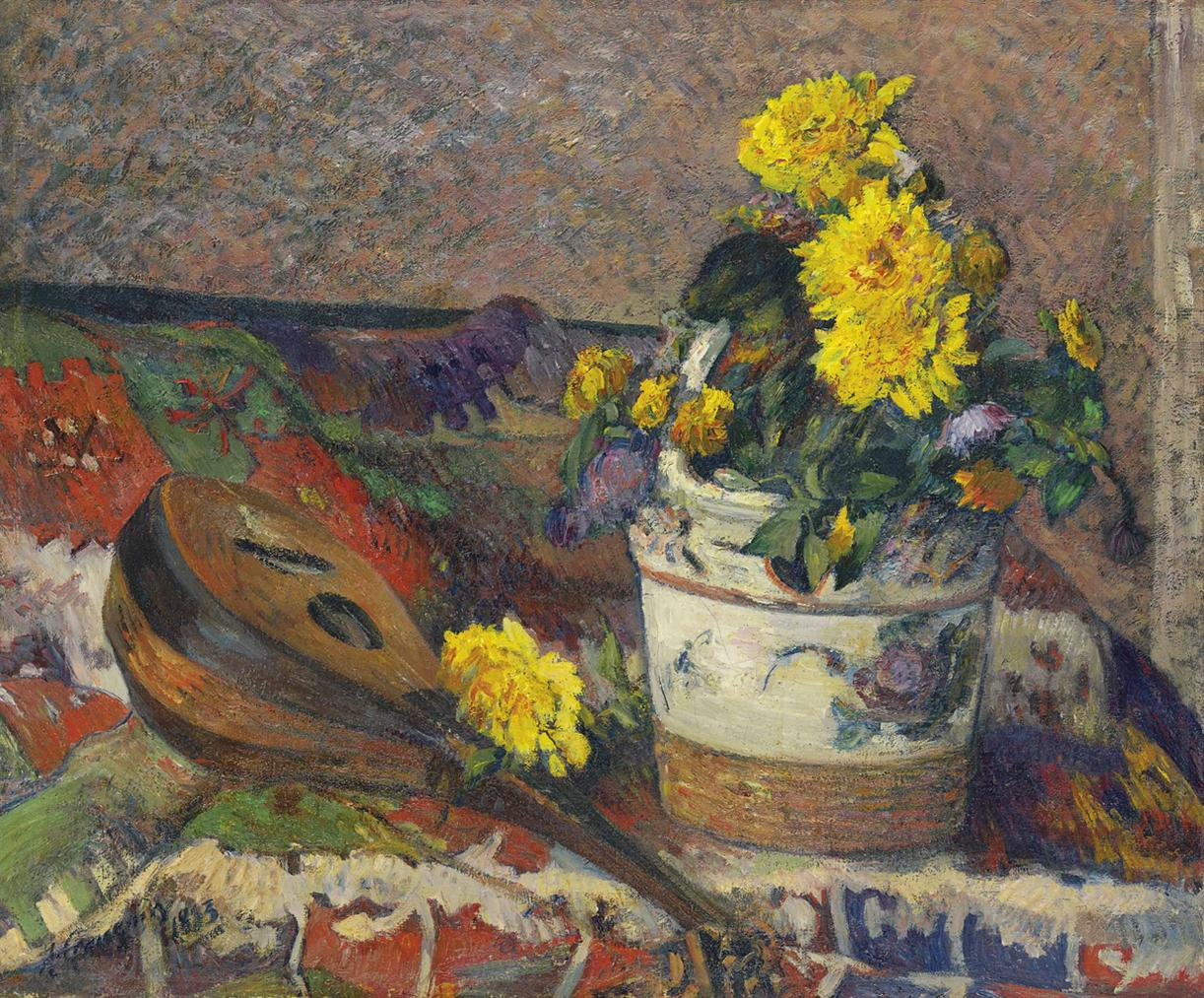 Paul Gauguin-Dahlias Et Mandoline-1883