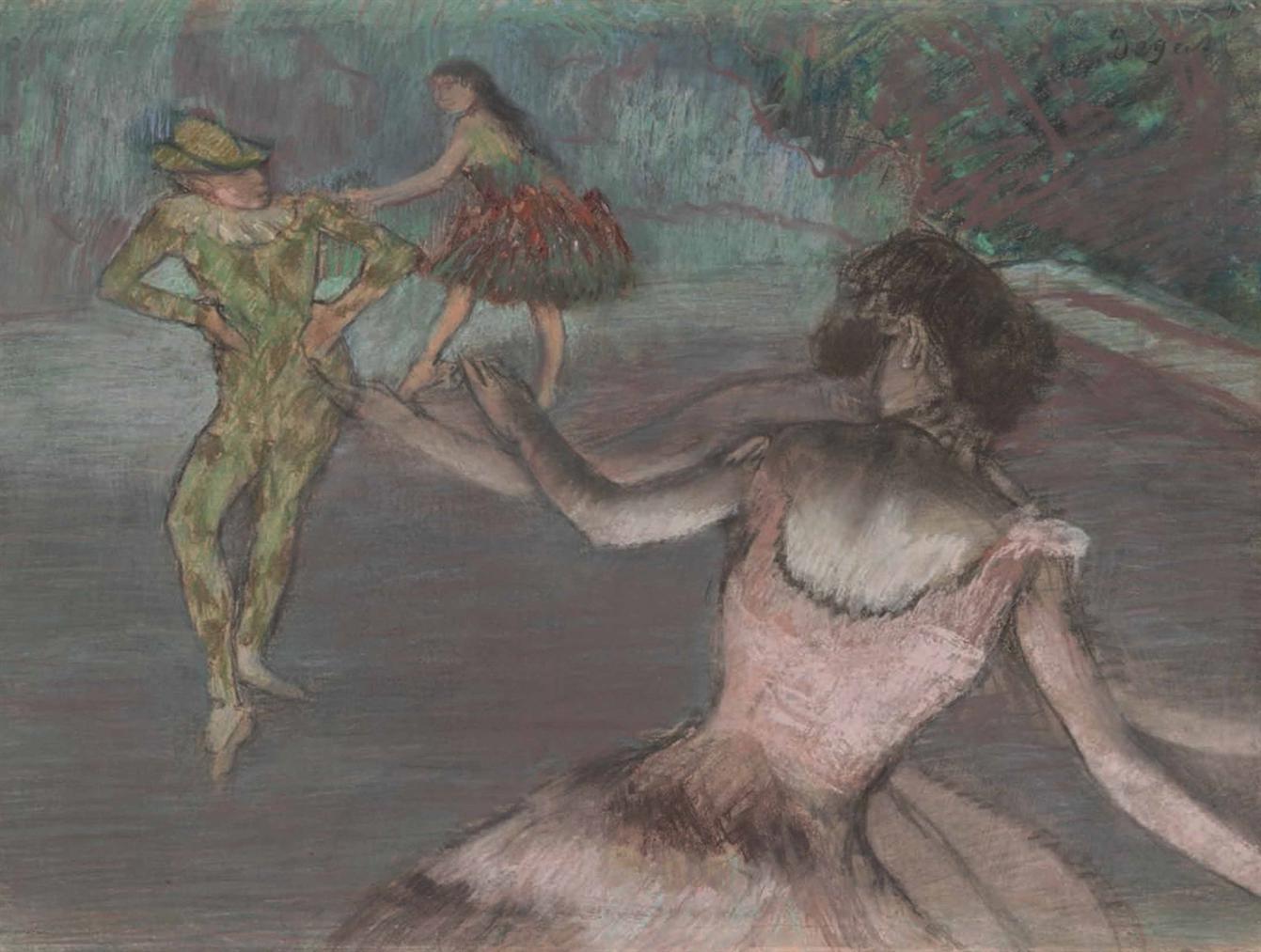 Edgar Degas-Arlequin Et Danseuses-1884