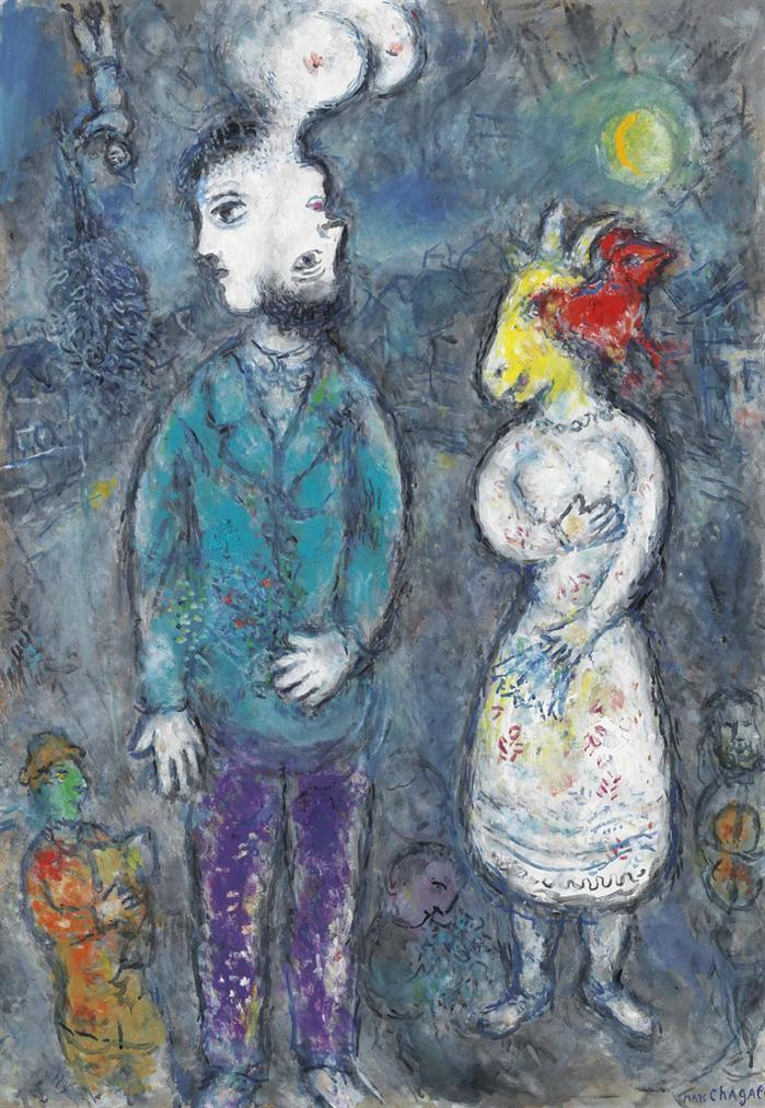 Marc Chagall-Couple Au Double-Profil-1980