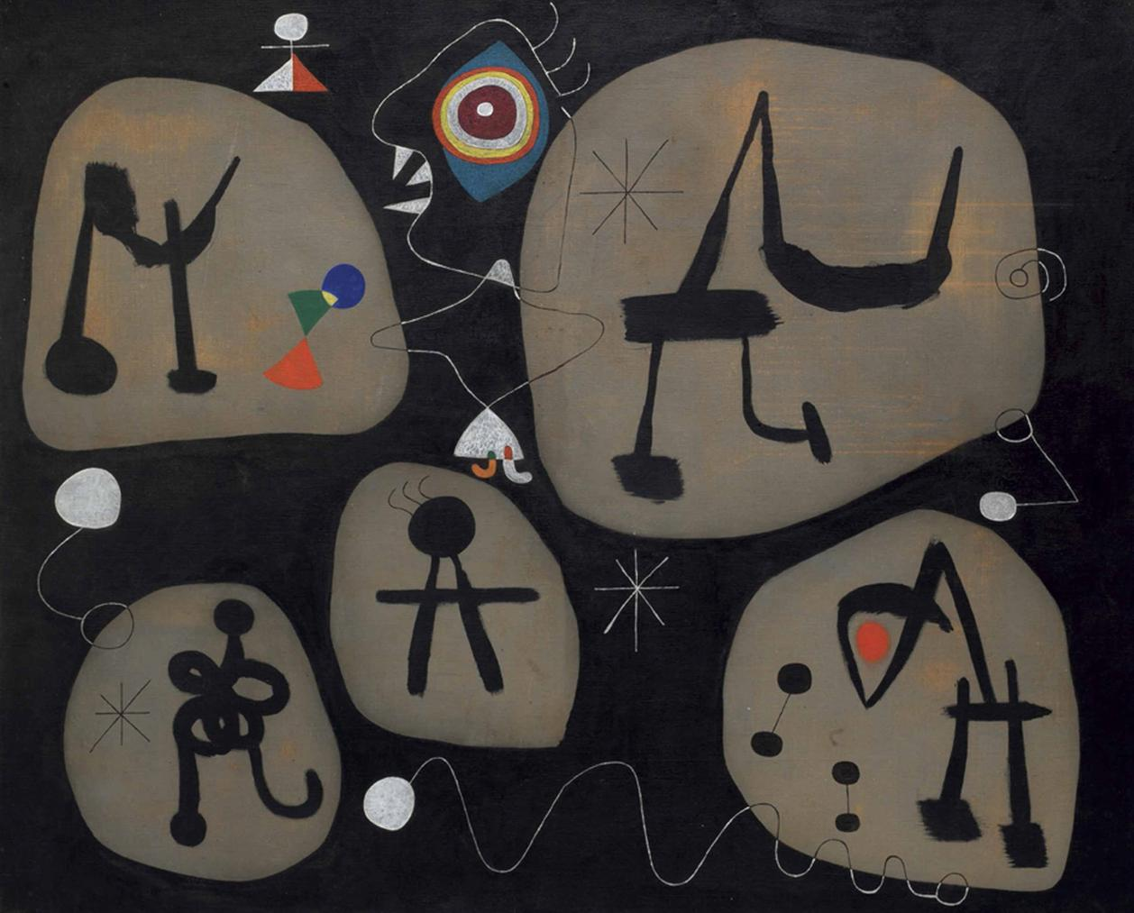 Joan Miro-Femme Entendant De La Musique-1945