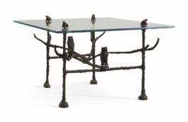 Diego Giacometti-Table Basse Trapezoidale, Modele Aux Hiboux Et Grenouilles-1963