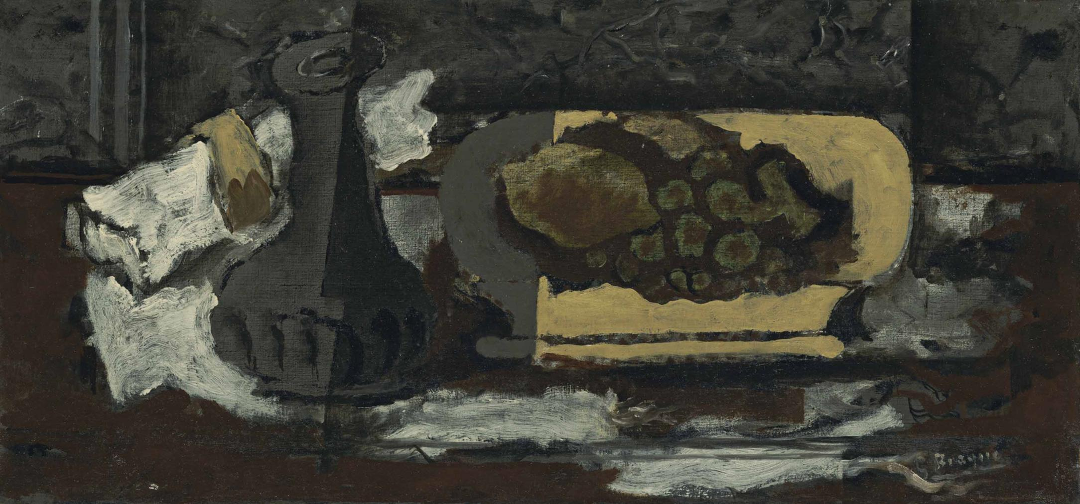 Georges Braque-Carafe, Raisin, Citron-1924