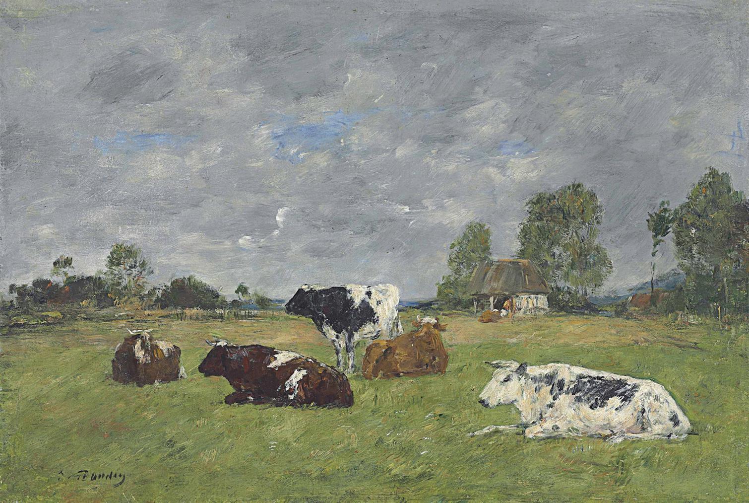 Eugene Louis Boudin-Vaches Au Paturage-1885
