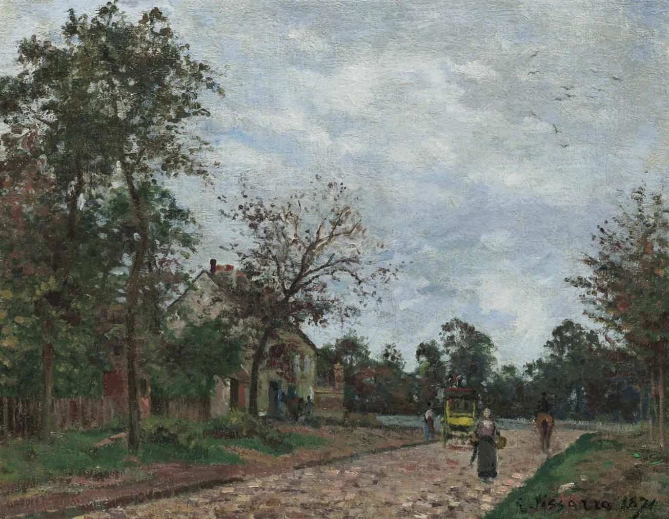 Camille Pissarro-Le Relais De Poste Sur La Route De Versailles, Louveciennes-1871