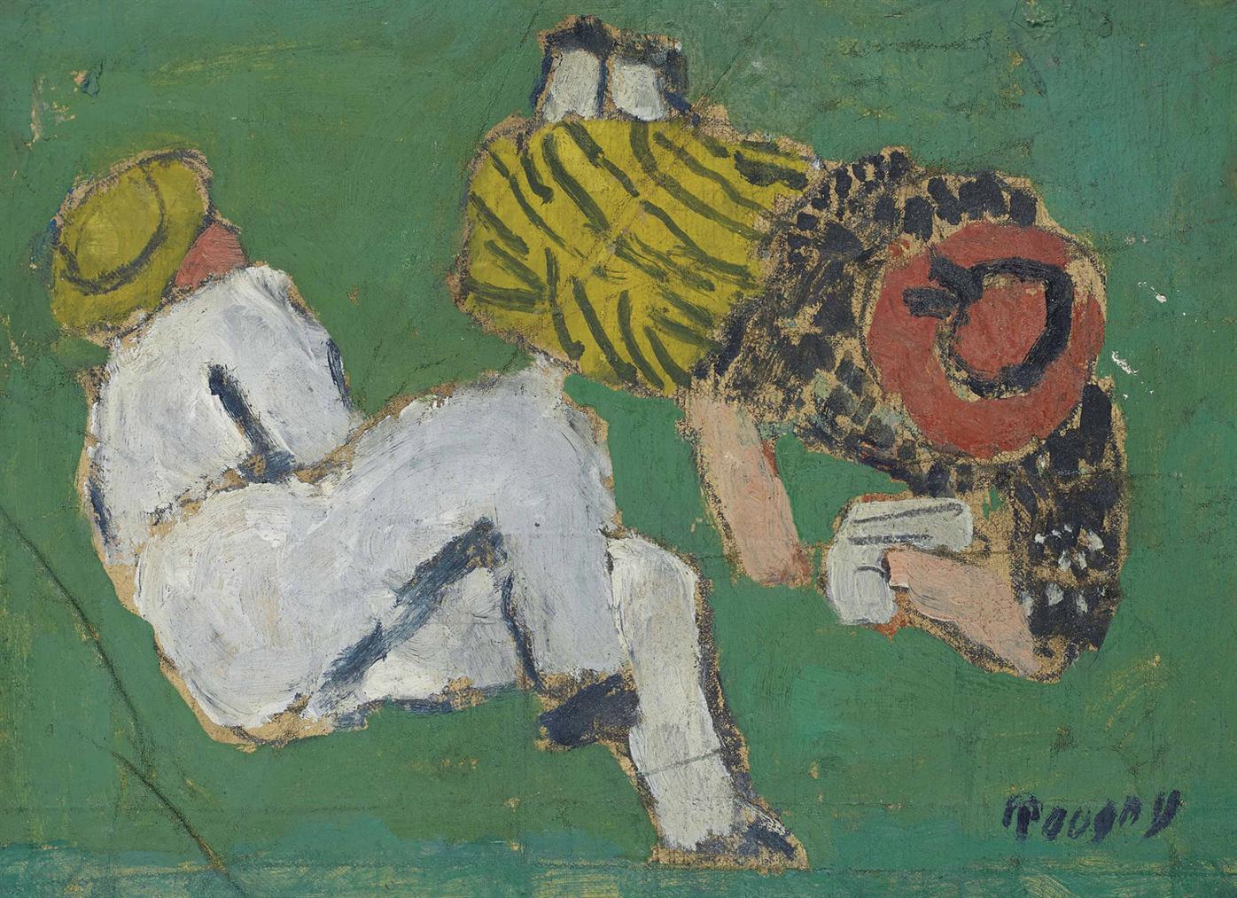 Ivan Puni-Deux Personnages Sur Lherbe-1953