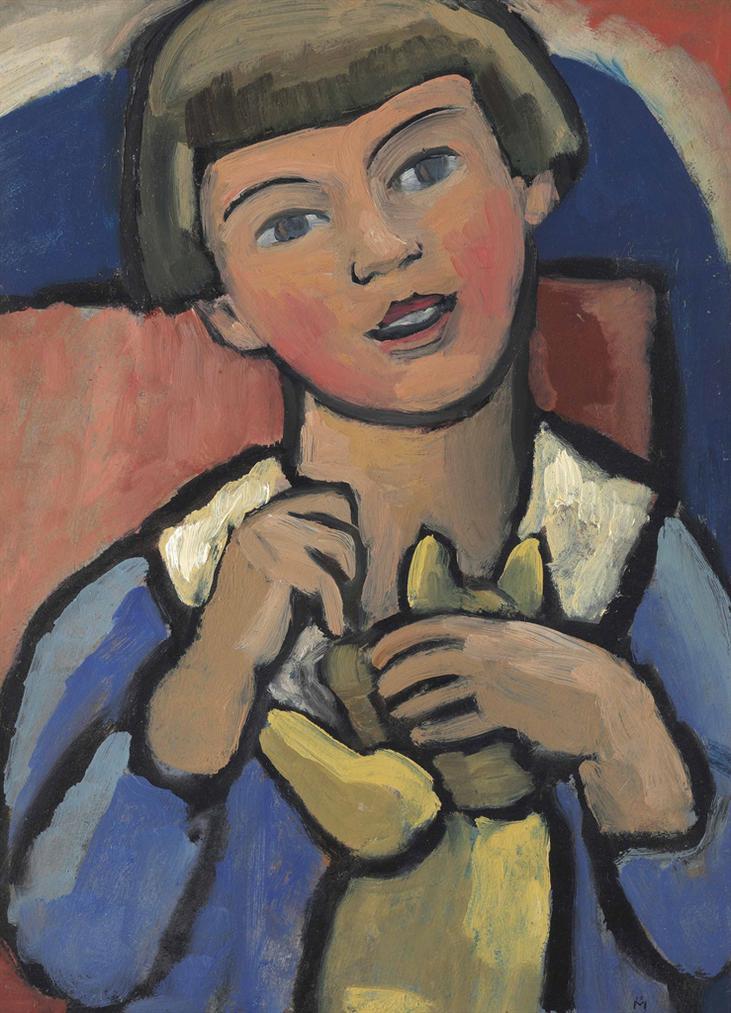 Gabriele Munter-Kind Mit Teddybar-1921