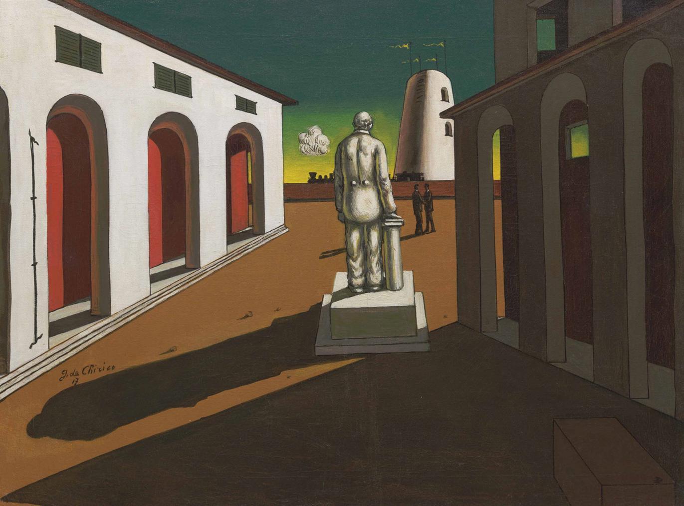 Giorgio de Chirico-Piazza Ditalia (Con Monumento Ad Un Uomo Politico)-1945