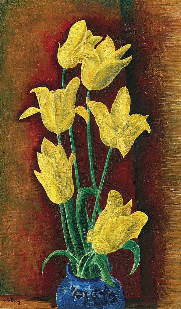 Moise Kisling-Vase De Tulipes Jaunes-1922