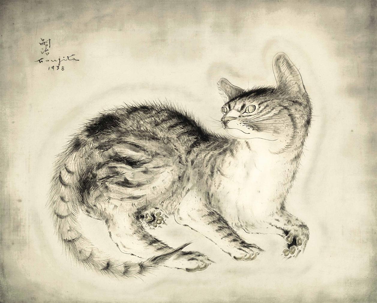 Tsuguharu Foujita-Chat Assis-1938