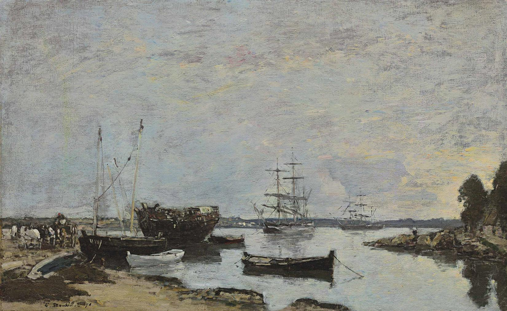 Eugene Louis Boudin-Camaret, Trois-Mats Dans La Rade-1871