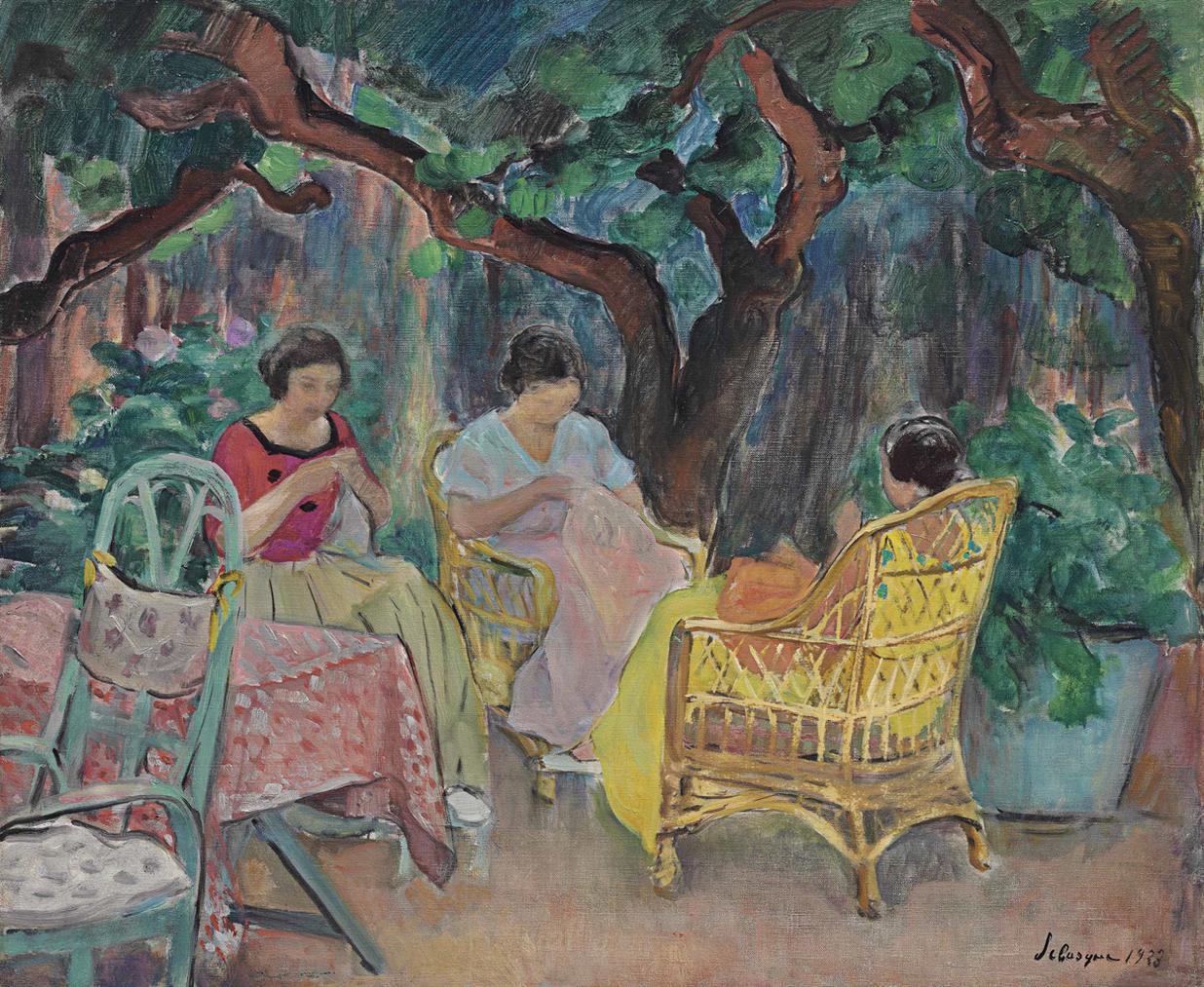 Henri Lebasque-Trois Femme Cousant Dans Un Jardin-1923