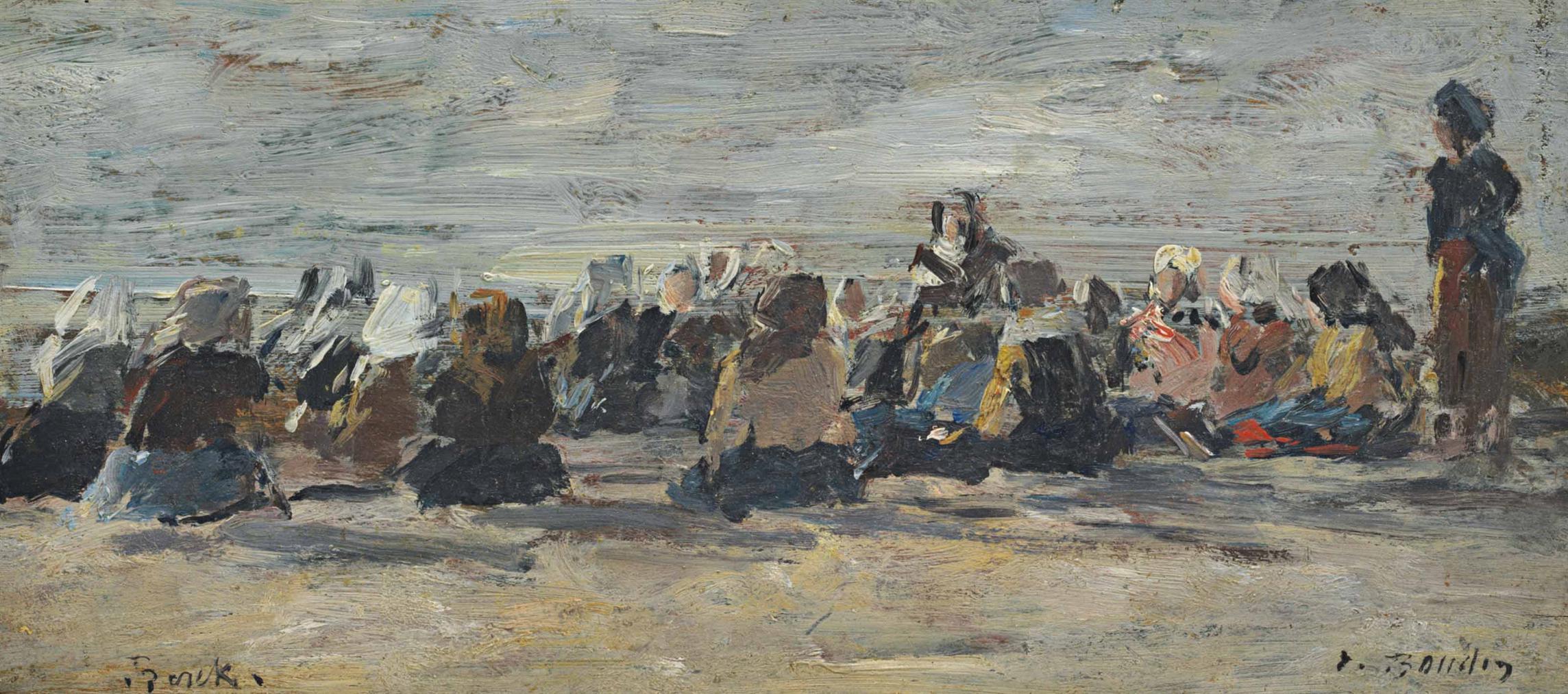 Eugene Louis Boudin-Berck, Femmes Attendant Sur La Plage Le Retour Des Barques-1882