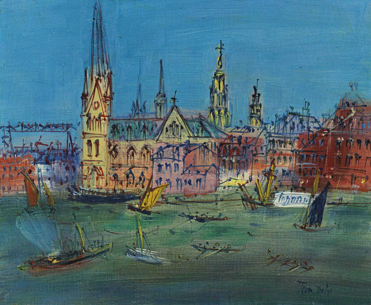 Jean Dufy-Scene De Port-