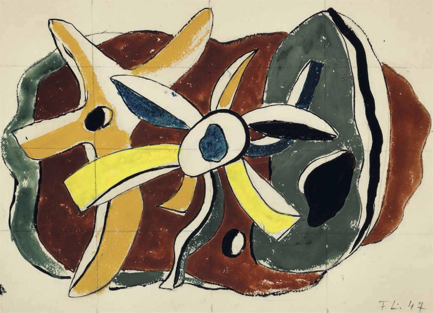 Fernand Leger-Composition (Recto And Verso)-1947