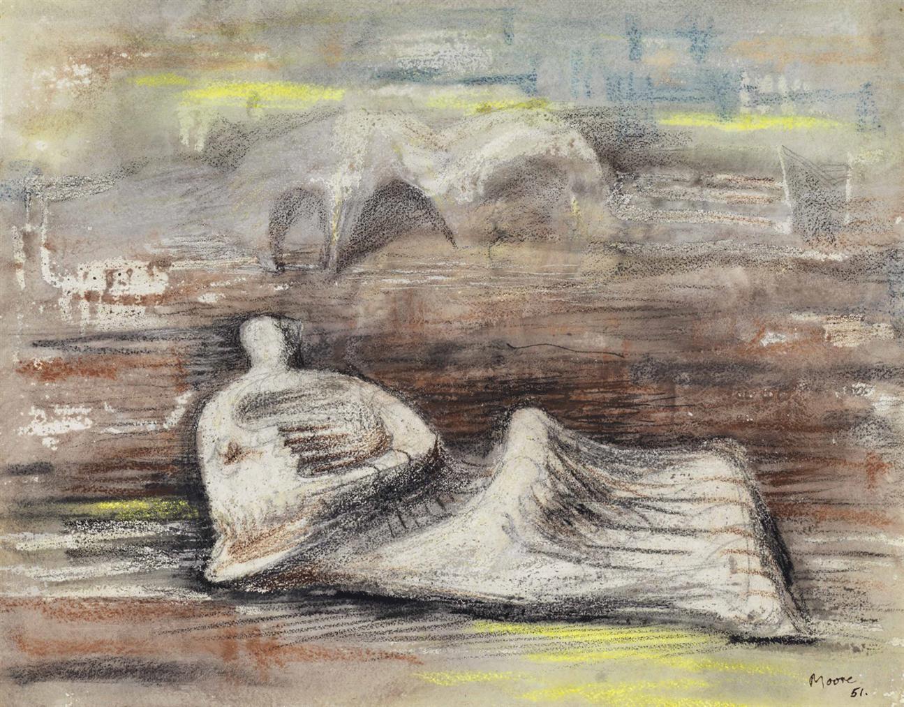 Henry Moore-Reclining Figure In Landscape-1951