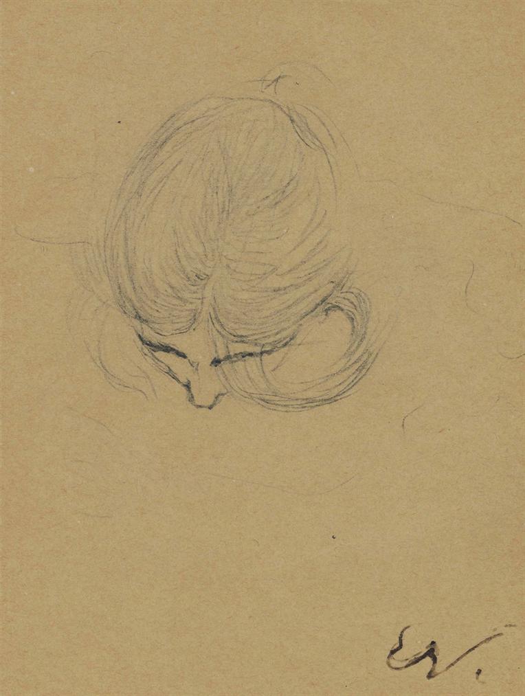 Edouard Vuillard-Etude De Tete Penchee-1898