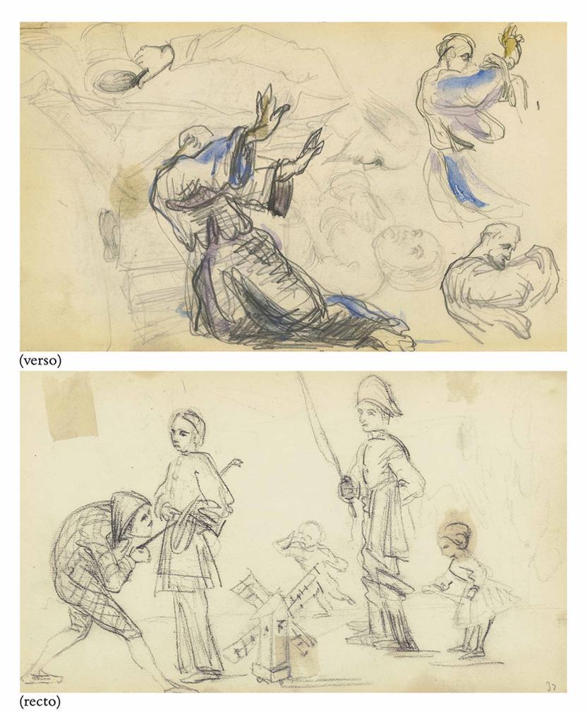 Paul Cezanne-Etudes De Personnages (Recto); Sainte-Antoine (Verso)-1875