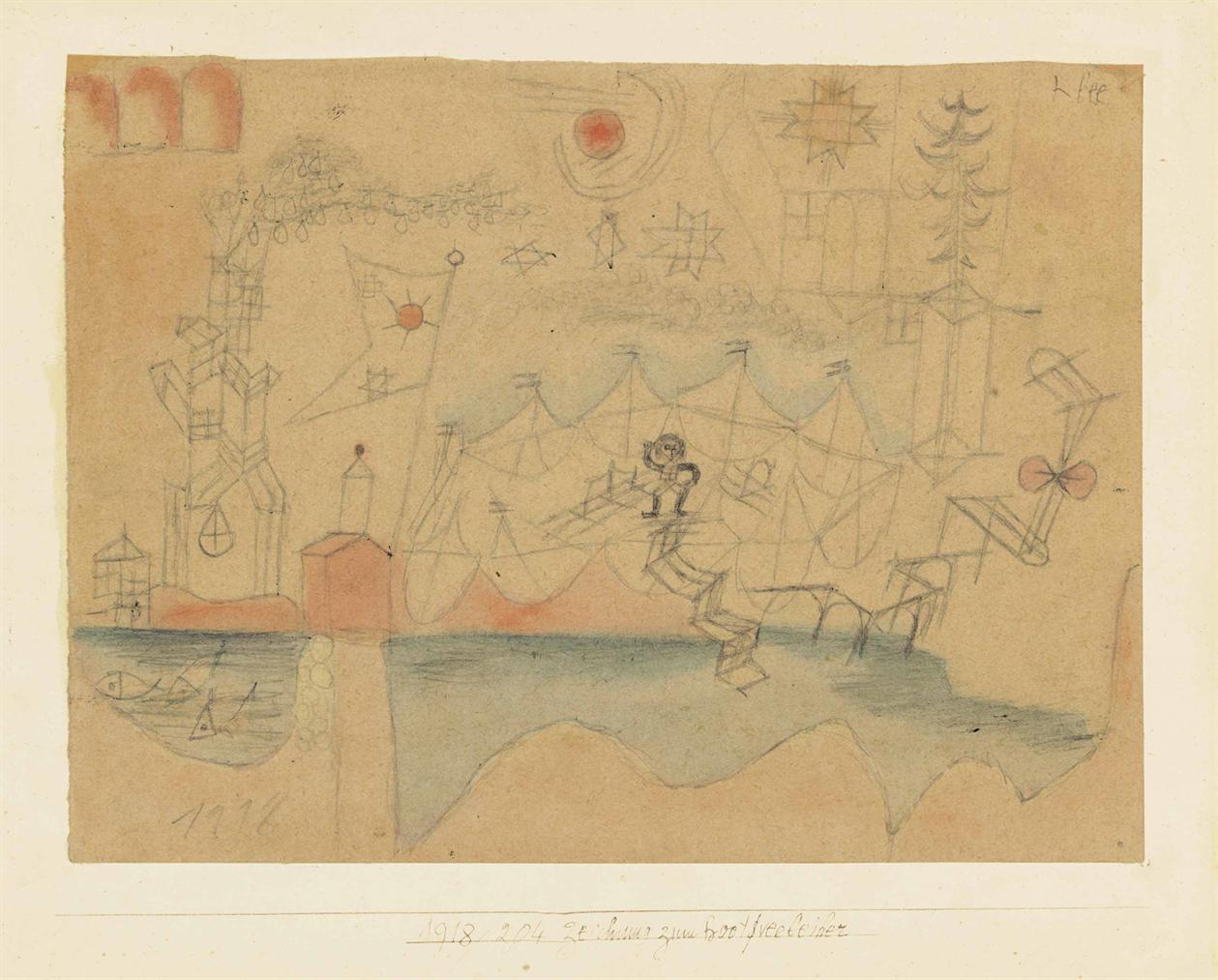 Paul Klee-Zeichnung Zum Bootverleiher-1918