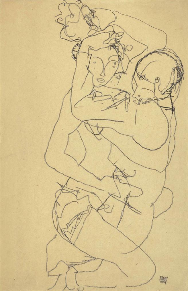 Egon Schiele-Paar Im Umarmung-1914