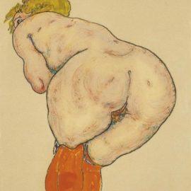 Egon Schiele-Ruckenakt Mit Orangefarbenen Strumpfen-1918