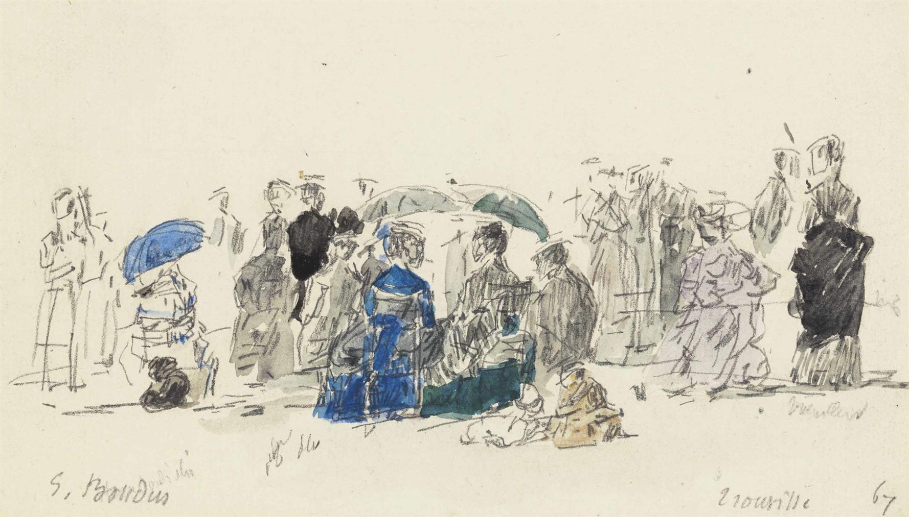 Eugene Louis Boudin-Scene De Plage-1867