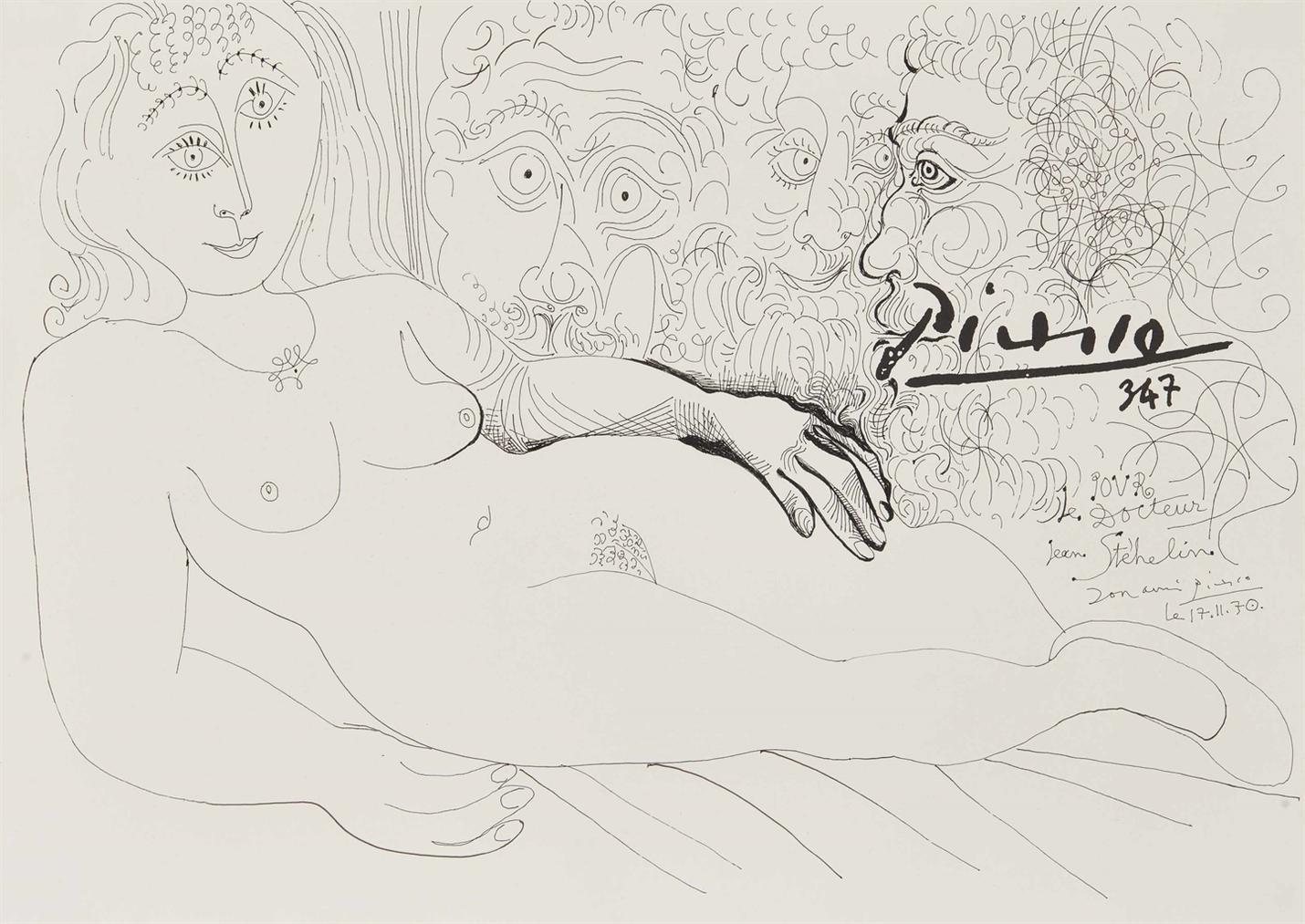Pablo Picasso-Femme Nue Allongee Et Trois Tetes Dhomme-1970