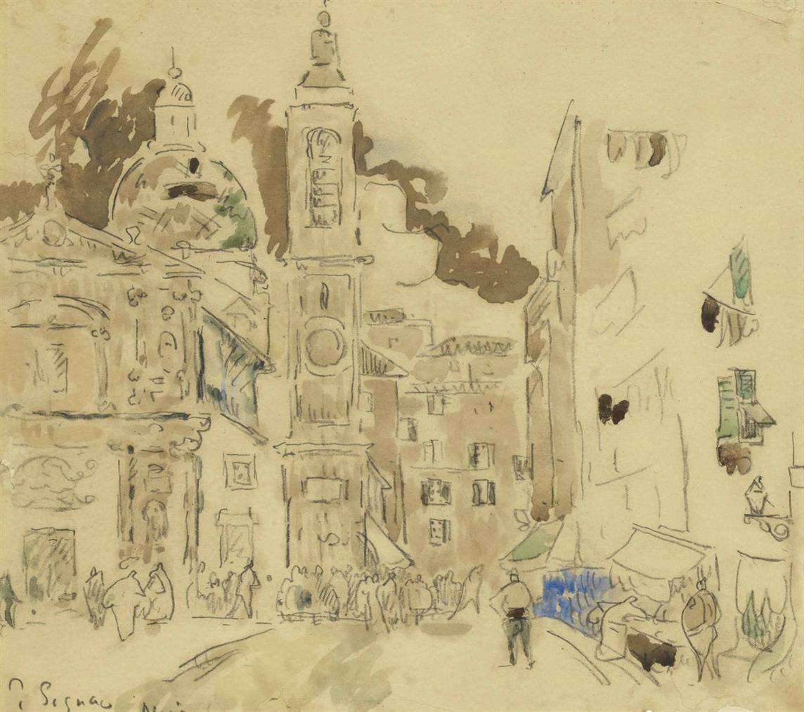 Paul Signac-La Place Rosetti, Nice-1925