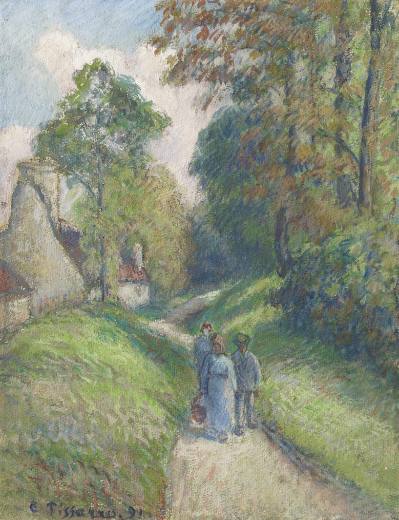 Camille Pissarro-Paysage Avec Trois Paysans-1891