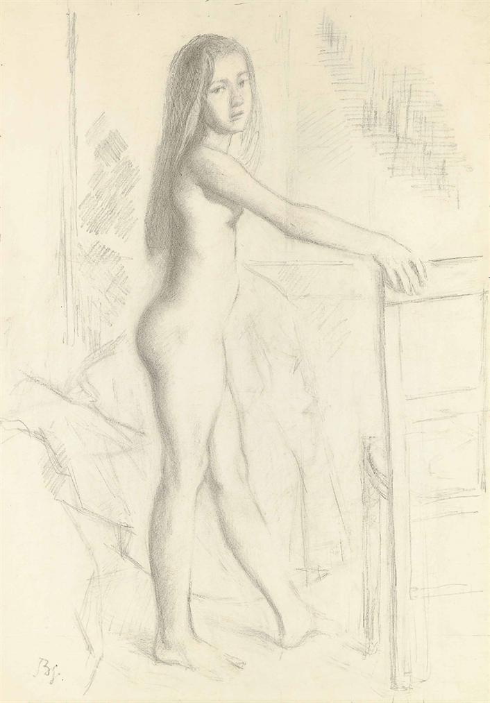 Balthus-Etude Pour Nu De Profil-1972