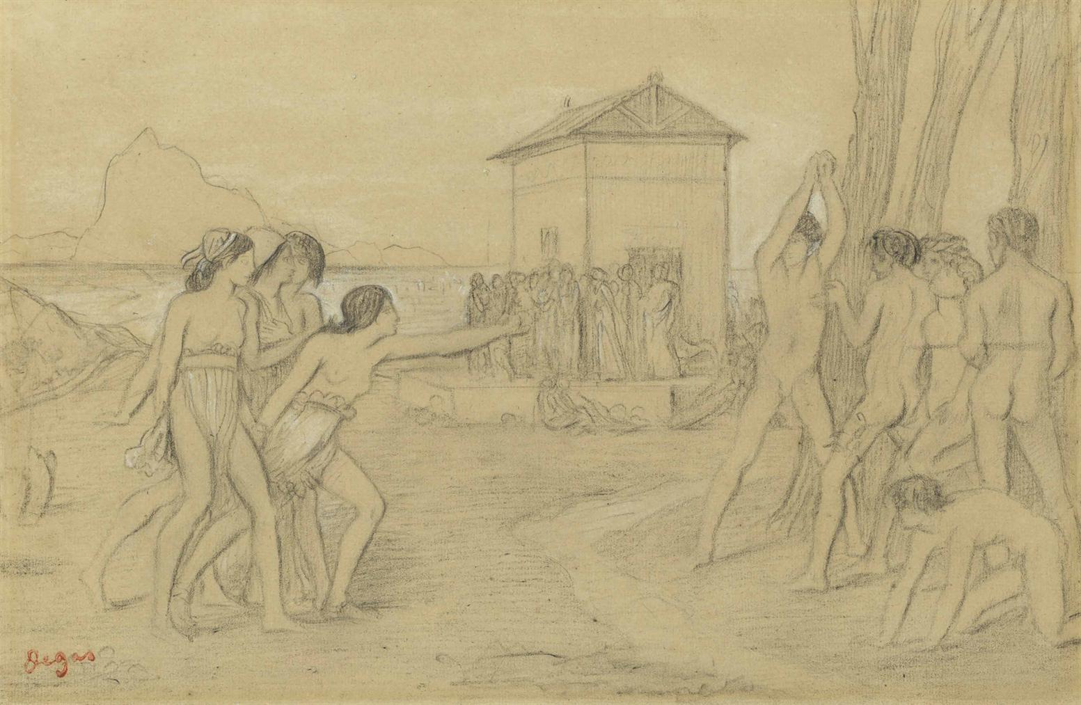 Edgar Degas-Etude Pour Petites Filles Spartiates Provoquant Des Garcons-1860
