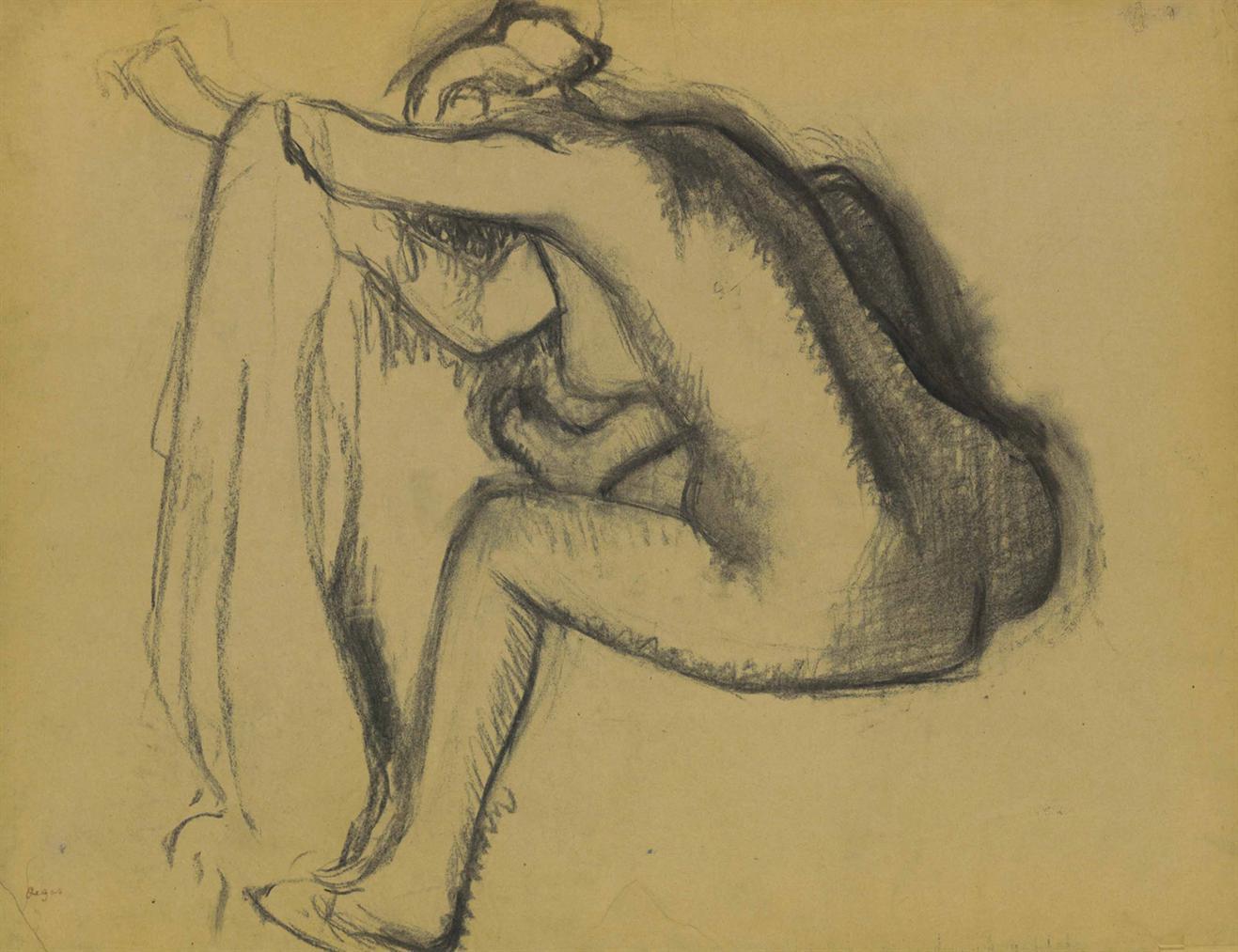 Edgar Degas-Femme Nue Assise, Sessuyant-